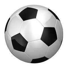 Soccer Ball over white with clipping path