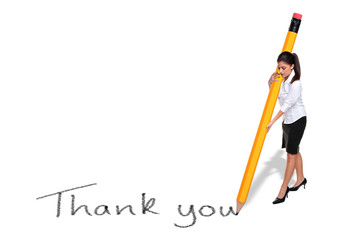 Businesswoman writing Thank you with giant pencil