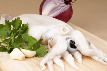 Raw cuttlefish with herbs