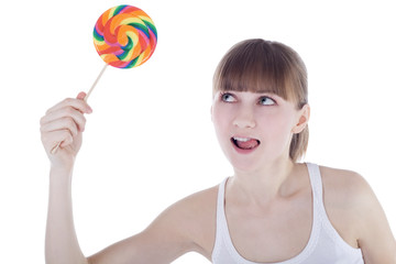 Bright picture of happy blonde with color lollipop