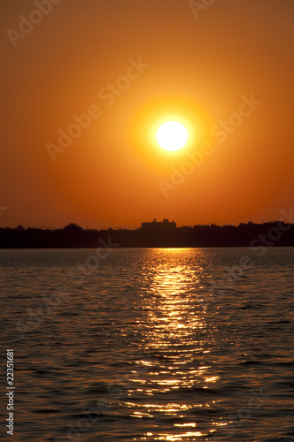 Sunset at agean sea coast of Turkey
