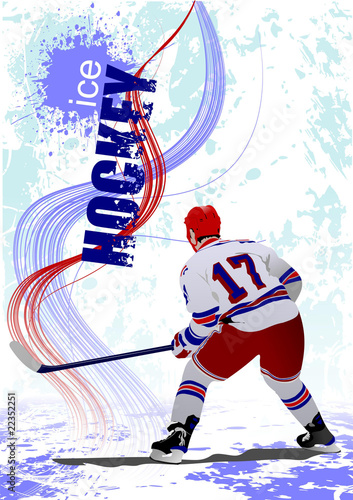 Ice hockey players poster. Colored Vector illustration for desig