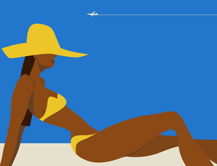 Summertime - bikini woman (vector illustration)