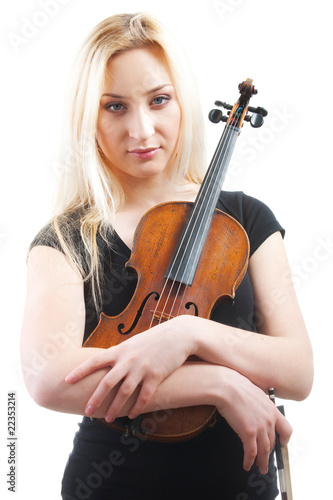 Portrait of a beautiful woman with violine