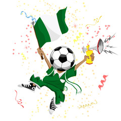 Nigeria Soccer Fan with Ball Head.