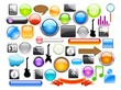 Big collection of web icons and glossy buttons