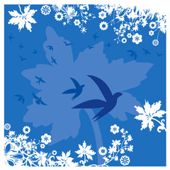 Fond Bordure Feuillage Fleurs et Oiseaux en Bleu