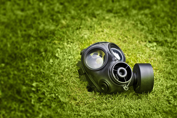 Gas mask outside