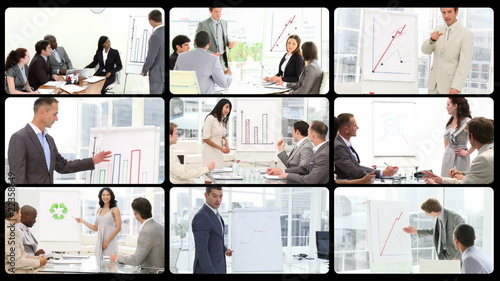 Montage of business People Giving an office Presentatio