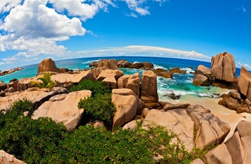 Seascape view  with a huge stones