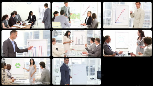 Montage showing businesspeople doing presentation
