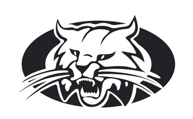 Bobcat, lynx with an open jaws vector