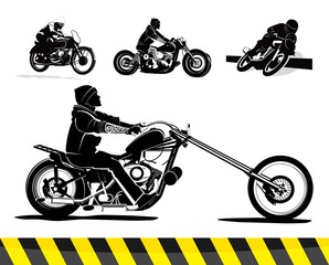Detailed motorcycle vector set