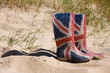 British Wellington boots on the beach - 22362078