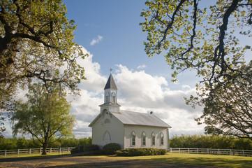 Old white rural church