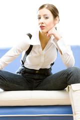 sitting businesswoman