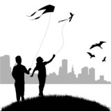 kids flying kite