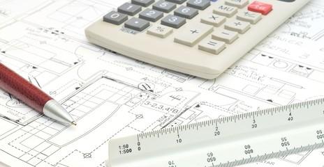 Estudio de arquitectura con planos