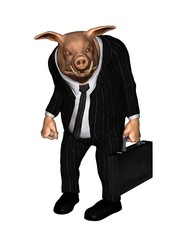 Angry Pig dressed as Business Man - 1