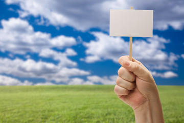 Blank Sign in Fist Over Grass Field and Sky