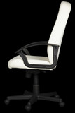 White leather office chair on black background