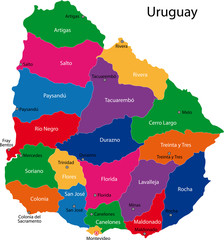 Map of the Republic of Uruguay with the departments