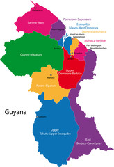 Map of the Co-operative Republic of Guyana with the regions