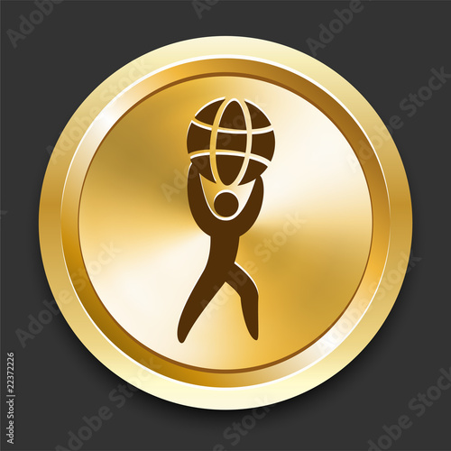 Man Holding Globe on Golden Internet Button