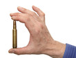 Man holding 416 rigby caliber magnum cartridge in hand