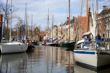 Yachts in Groningen. Netherlands.