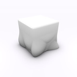 render of a molten melted cube child chair seat poster