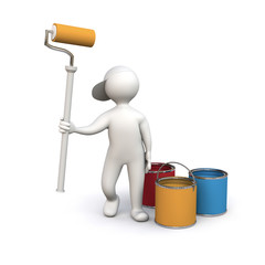 3D Man house painter