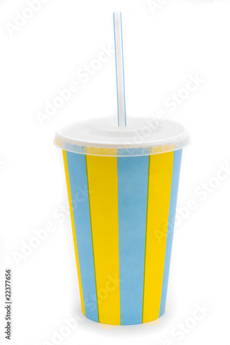 stripy drinks cup with straw