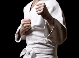 Karateka isolated on black