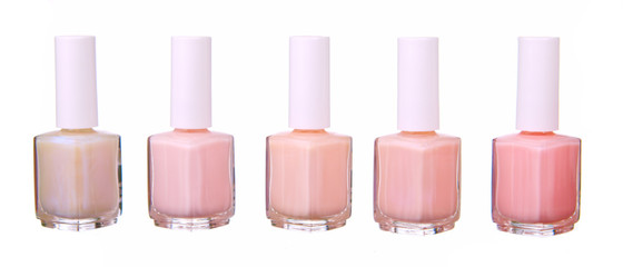 Pink  nailpolish set isolated