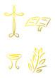 Vier goldene Symbole für Religion und christliche Feste
