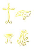 Vier goldene Symbole für Religion und christliche Feste poster