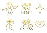 Sechs Symbole für Designs zu Religion und Spiritualität poster