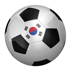 South Korean Soccer Ball isolated over white background