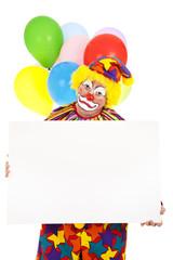 Sad Clown with Sign