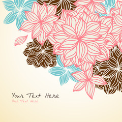 Vintage Floral Background Corner in Blue and Pink