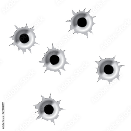 Bullet holes. Vector. Easy to place on different color or back