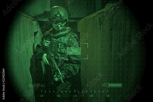 View through night vision googles- S.W.A.T. Operator- HUD added