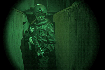 View through night vision googles- S.W.A.T. Operator