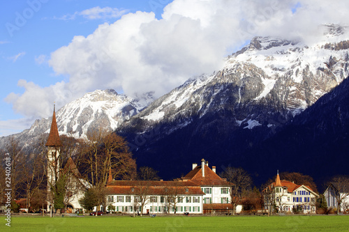 buildings and Mountain/interlaken