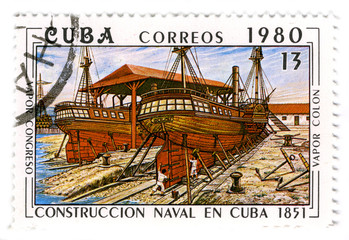 CUBA - CIRCA 1980: A stamp printed in Cuba shows image of the co