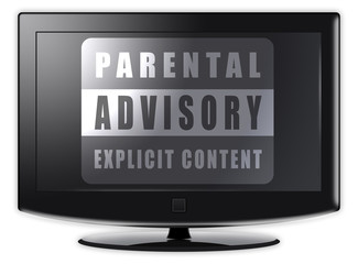 Flatscreen TV with Parental Advisory on screen