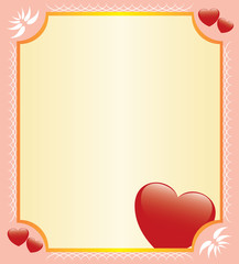 vector romantic card with hearts