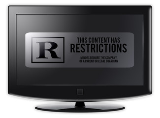 """Flatscreen TV with """"Restrictions"""" wording on screen"""