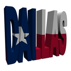 Dallas 3d text with Texan flag on white illustration